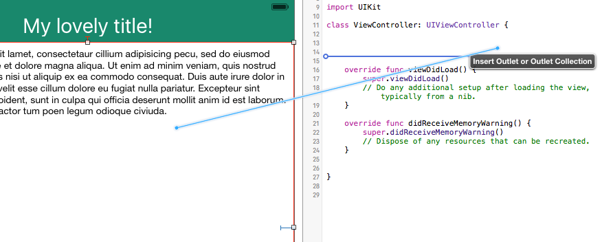 Xcode add referencing outlet