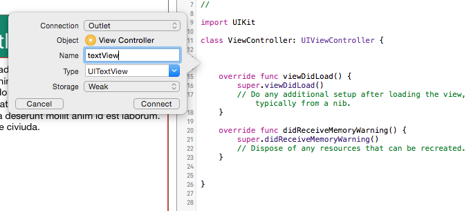 Xcode outlet name