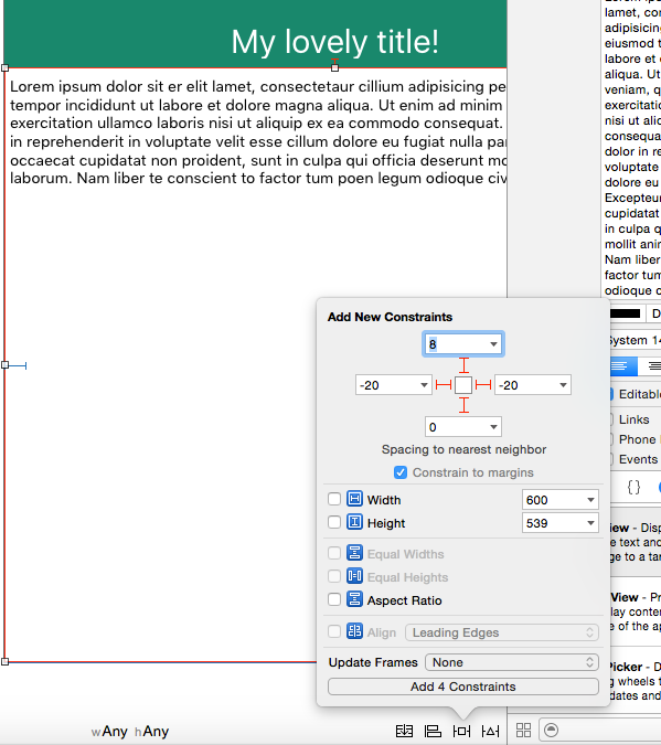 Xcode storyboard responsive constraints textview