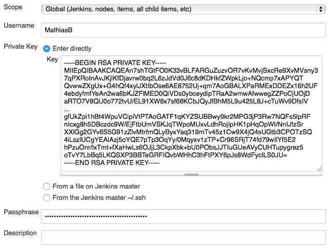 Jenkins Credentials SSH key git