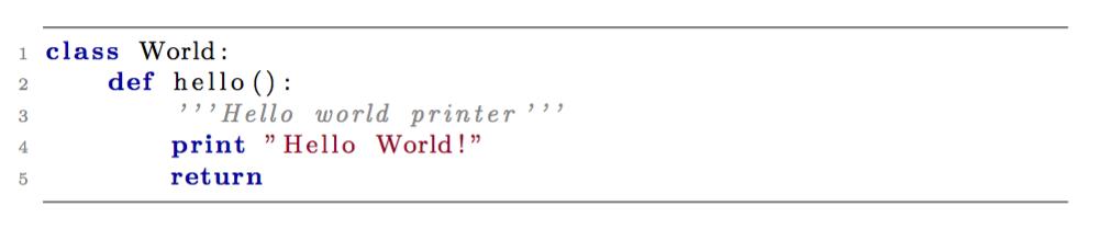 LaTex listlisting syntax highlighting example