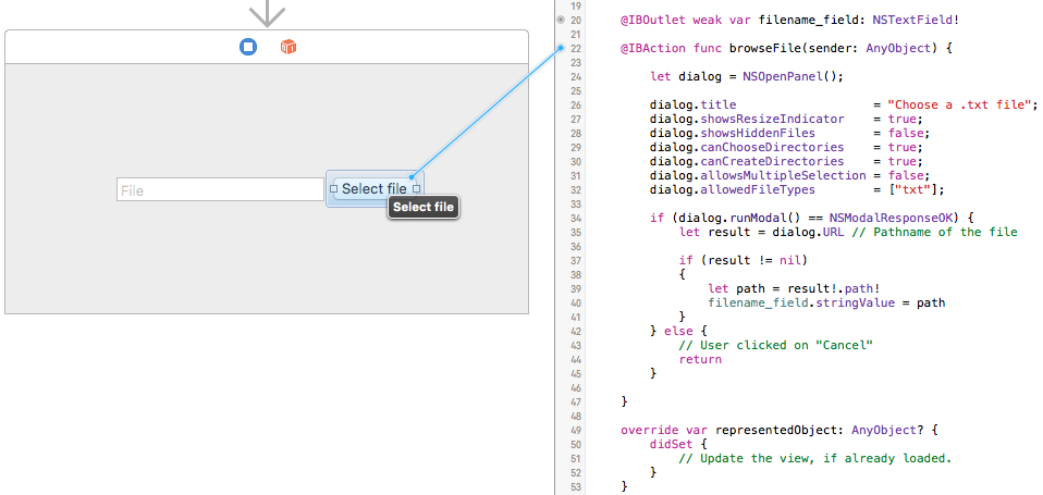 NSOpenPanel button click example Xcode