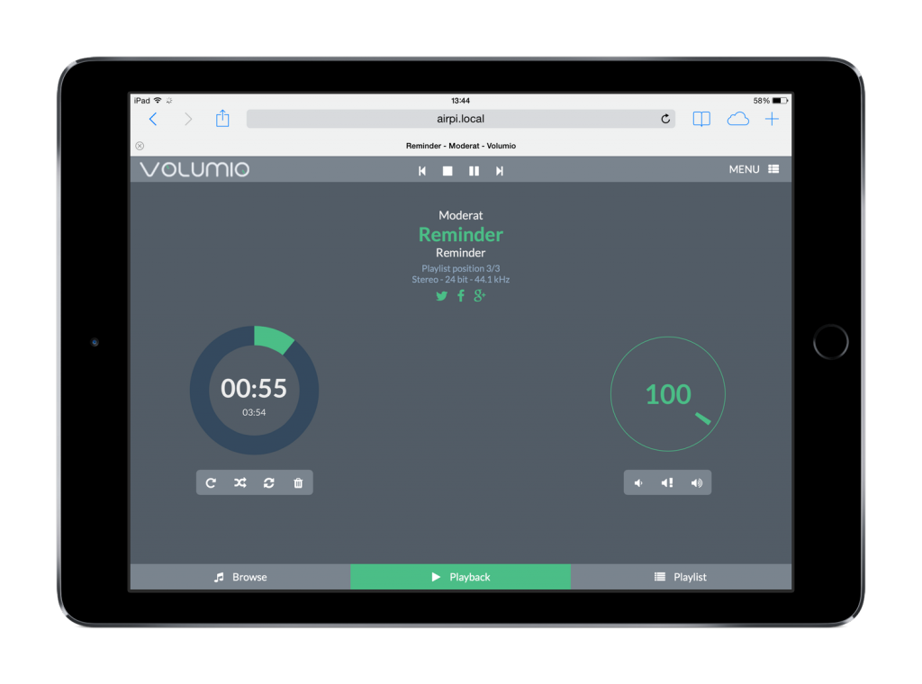 Volumio web interface on iPad