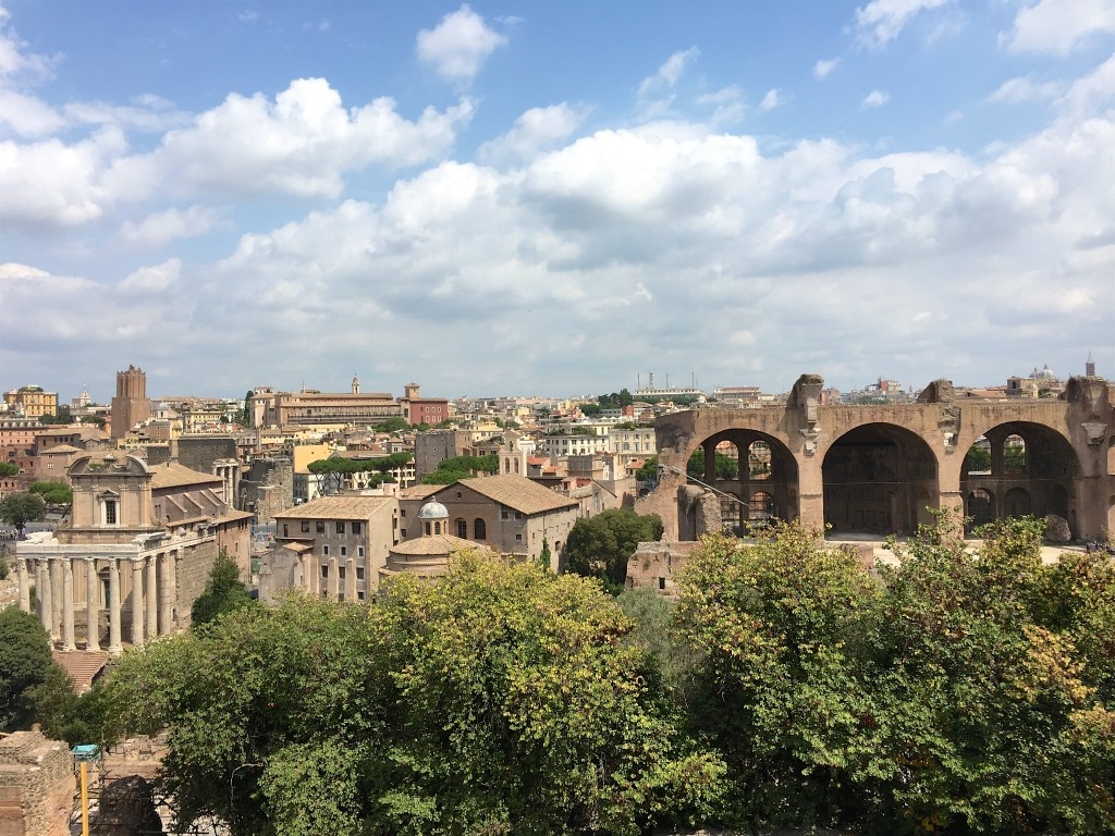 Tempel van Antoninus en Faustina en Basiliek van Constantijn gezien vanop Palatijn