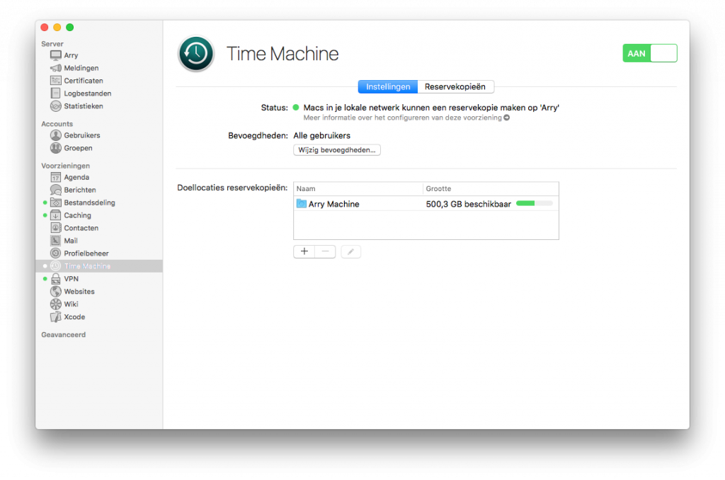 macOS server Time Machine backup