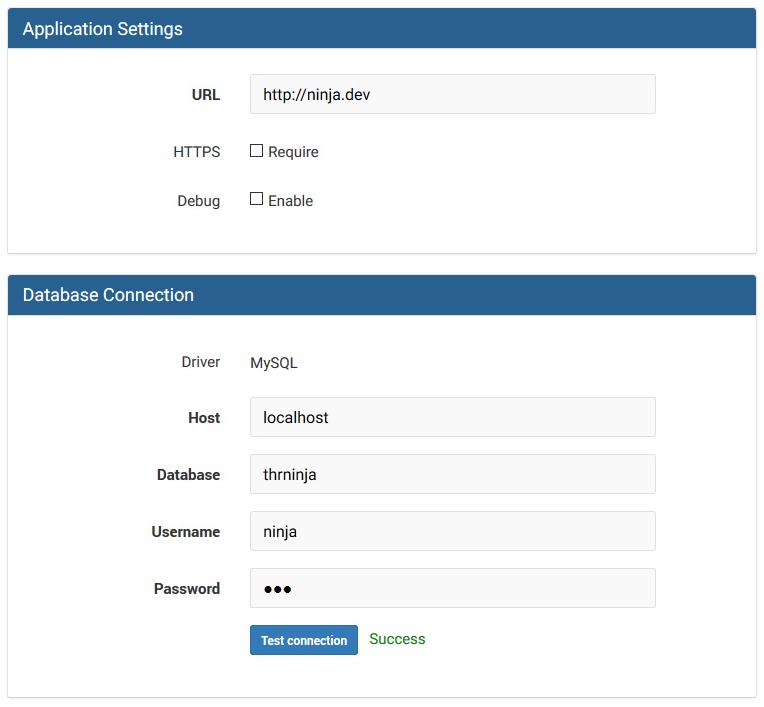 Invoice Ninja setup (database and general)