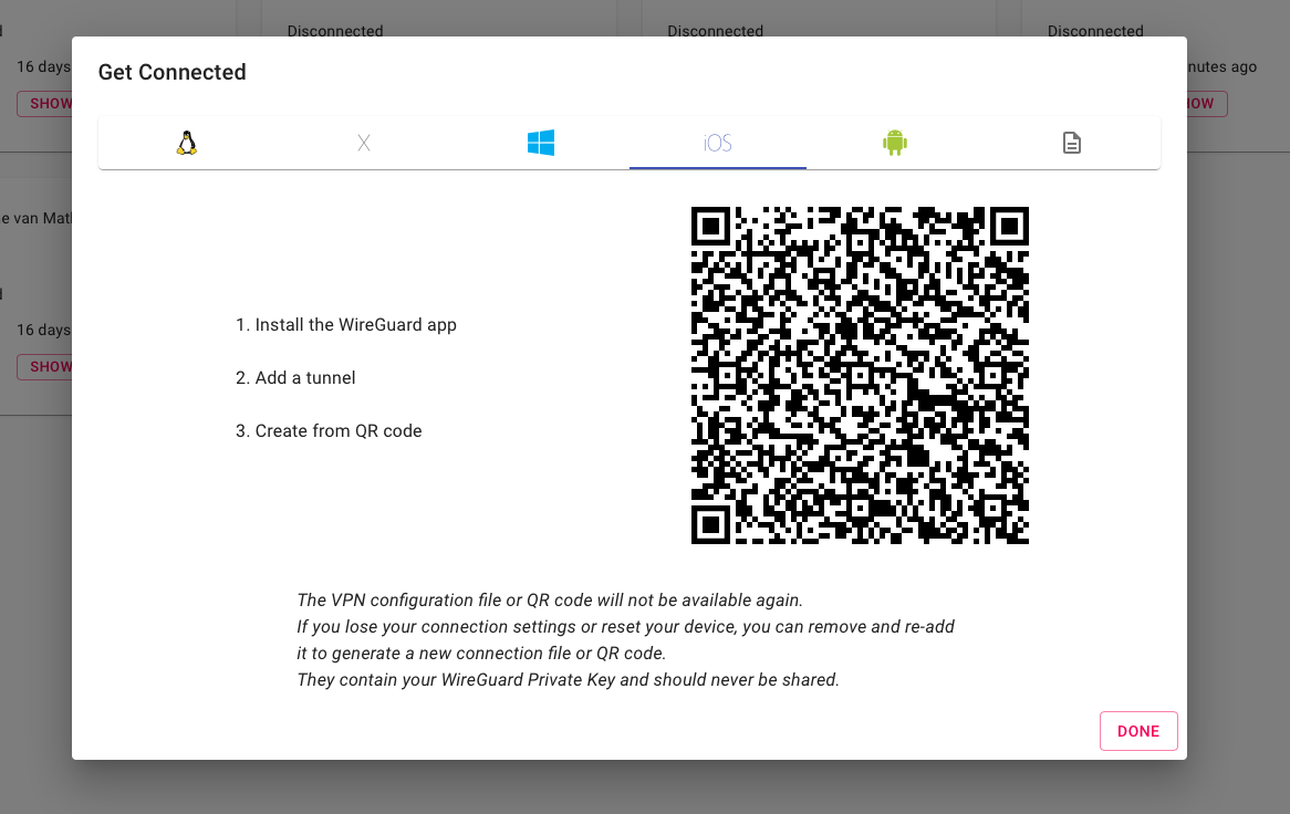 wg-access-server client configuration with QR code