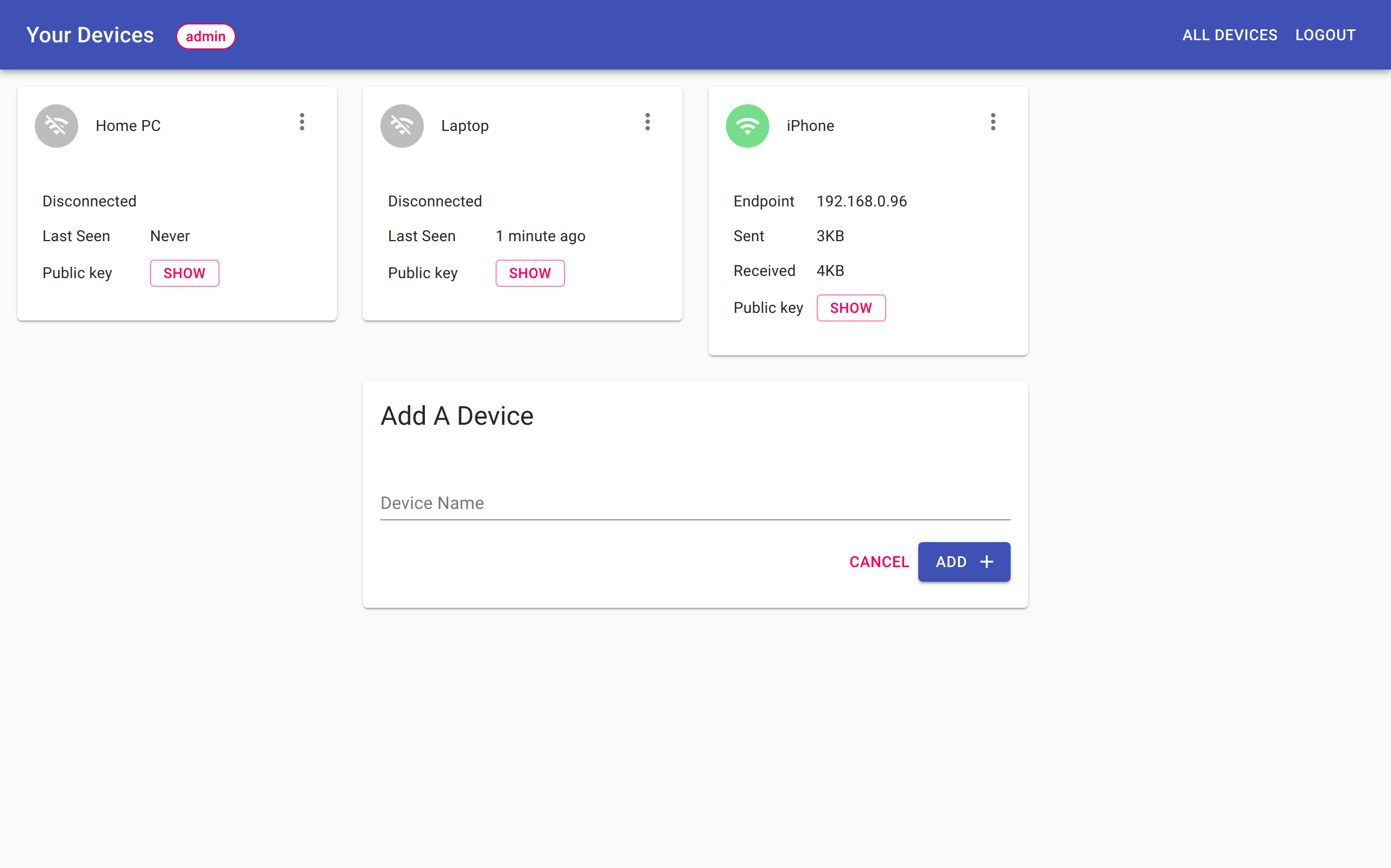 wg-access-server admin interface
